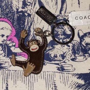 Coach Leather Fur Monkey Keychain Charm